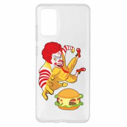 Чехол для Samsung S20+ Clown in flight with a burger