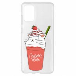 Чохол для Samsung S20+ Cocktail cat and strawberry