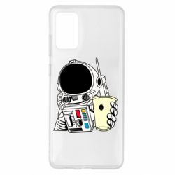 Чехол для Samsung S20+ Cosmonaut with a coffee