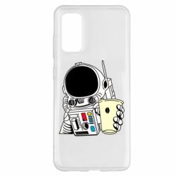 Чехол для Samsung S20 Cosmonaut with a coffee