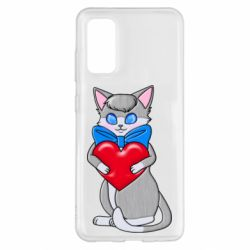 Чехол для Samsung S20 Cute kitten with a heart in its paws