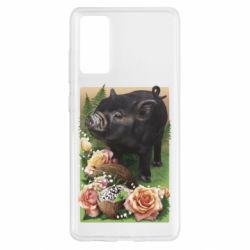 Чехол для Samsung S20 FE Black pig and flowers