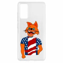 Чехол для Samsung S20 FE Cat in American Flag T-shirt