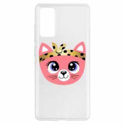 Чехол для Samsung S20 FE Cat pink