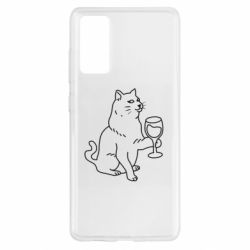 Чохол для Samsung S20 FE Cat with a glass of wine