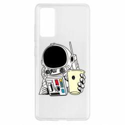 Чехол для Samsung S20 FE Cosmonaut with a coffee