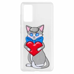Чехол для Samsung S20 FE Cute kitten with a heart in its paws