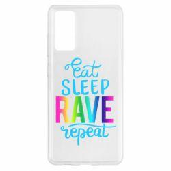Чохол для Samsung S20 FE Eat, sleep, RAVE, repeat