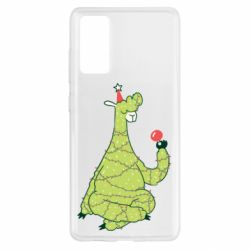 Чехол для Samsung S20 FE Green llama with a garland