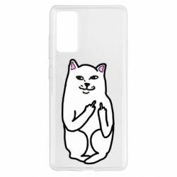 Чехол для Samsung S20 FE Кот с факом