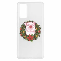 Чохол для Samsung S20 FE Pig with a Christmas wreath