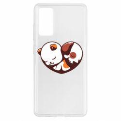Чохол для Samsung S20 FE Сердечко. Котик и собачка