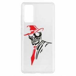 Чехол для Samsung S20 FE Skull in a hat with a tie