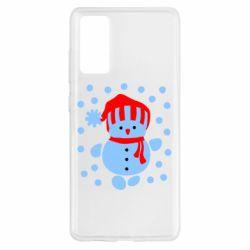 Чехол для Samsung S20 FE Снеговик в шапке