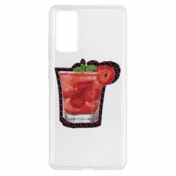 Чохол для Samsung S20 FE Strawberry cocktail on a background of flowers