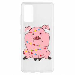Чохол для Samsung S20 FE Свиня обмотана гірляндою
