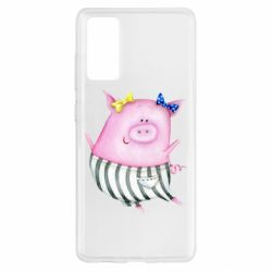 Чехол для Samsung S20 FE Watercolor Pig with paper texture