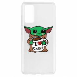 Чехол для Samsung S20 FE Yoda and a mug with the inscription I love coffee