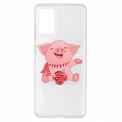 Чохол для Samsung S20+ Funny pig with a Christmas toy