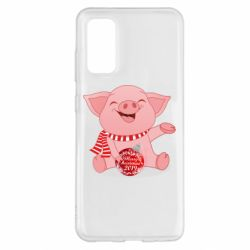 Чохол для Samsung S20 Funny pig with a Christmas toy