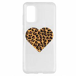 Чехол для Samsung S20 Heart with leopard hair