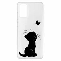 Чохол для Samsung S20+ Котик з метеликом