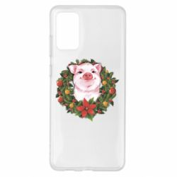 Чохол для Samsung S20+ Pig with a Christmas wreath