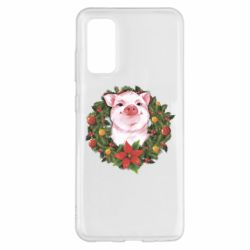 Чохол для Samsung S20 Pig with a Christmas wreath