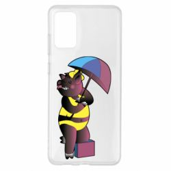 Чохол для Samsung S20+ Pig with umbrella