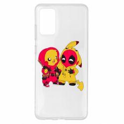 Чехол для Samsung S20+ Pikachu and deadpool