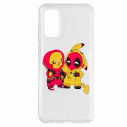 Чехол для Samsung S20 Pikachu and deadpool