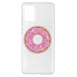 Чохол для Samsung S20+ Pink donut on a background of patterns