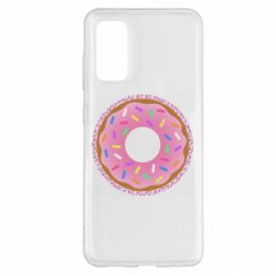 Чохол для Samsung S20 Pink donut on a background of patterns