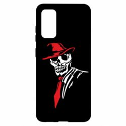 Чехол для Samsung S20 Skull in a hat with a tie