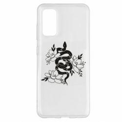 Чохол для Samsung S20 Snake with flowers