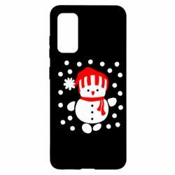 Чехол для Samsung S20 Снеговик в шапке