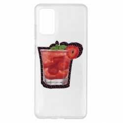 Чохол для Samsung S20+ Strawberry cocktail on a background of flowers
