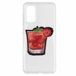 Чохол для Samsung S20 Strawberry cocktail on a background of flowers