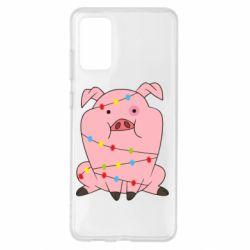 Чохол для Samsung S20+ Свиня обмотана гірляндою