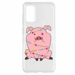Чохол для Samsung S20 Свиня обмотана гірляндою