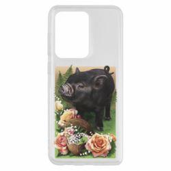 Чехол для Samsung S20 Ultra Black pig and flowers