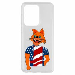 Чехол для Samsung S20 Ultra Cat in American Flag T-shirt