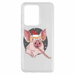 Чохол для Samsung S20 Ultra Portrait of the pink Pig in a red Santa's cap