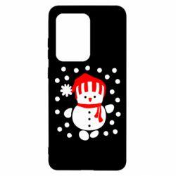 Чехол для Samsung S20 Ultra Снеговик в шапке
