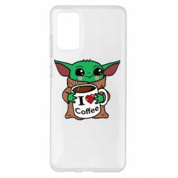 Чехол для Samsung S20+ Yoda and a mug with the inscription I love coffee