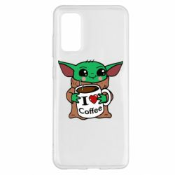 Чехол для Samsung S20 Yoda and a mug with the inscription I love coffee