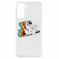 Чохол для Samsung S21+ Astronaut on a rocket with a tape recorder