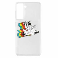 Чохол для Samsung S21 Astronaut on a rocket with a tape recorder