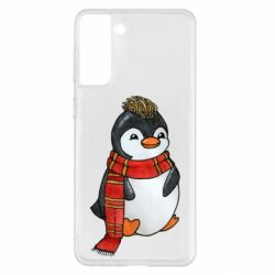 Чохол для Samsung S21+ Baby penguin with a scarf