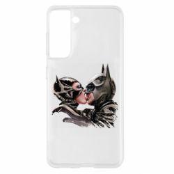 Чехол для Samsung S21 Batman and Catwoman Kiss